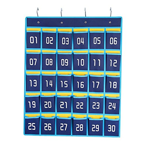 Numbered Classroom Pocket Chart Cell Phones and Calculators Holder Wall Door Hanging Organizer (30 Pockets)