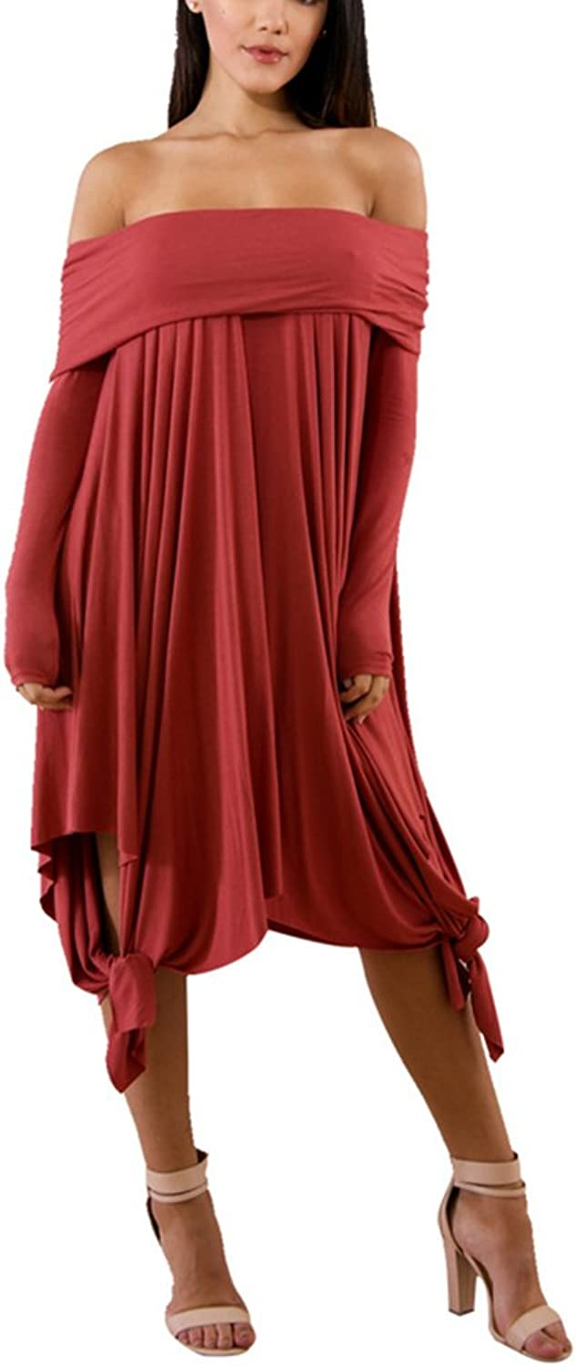 Aleng Women's Solid color Off Shoulder Long Sleeve Dress Asymmetrical Hem Party Dress