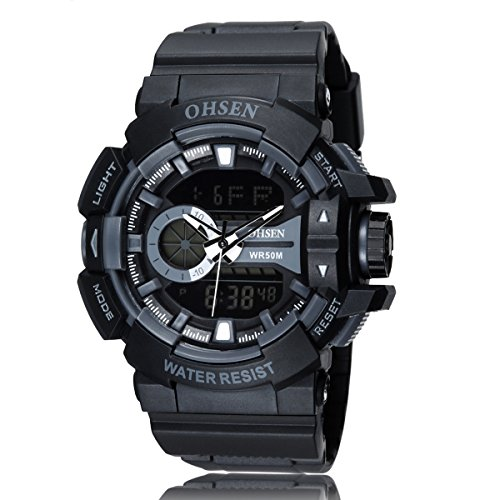 Pixnor Jungen Dual Zeitzone Display LED Digital Quarz OHSEN AD1505Männer Sportuhren
