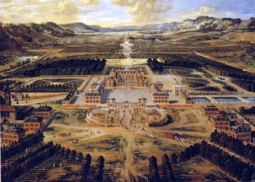 """Art Oyster Pierre Patel Bird's Eye View of The Chateau and Gardens of Versailles - 18"""" x 27"""" Premium Canvas Print"""