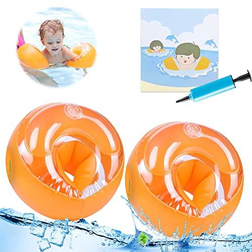 Flotador de Brazos para Niños,Manguitos de Natación,Flotador para Bebe,Manguitos de natación Inflable (Naranja)