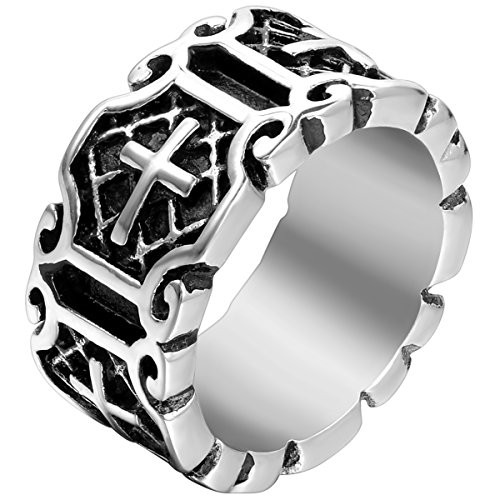 Flongo Men's Classic Stainless Steel Silver Black Celtic Knot Cross Band Ring, Size 8, Religious Men Women Prayer Cross Wedding Anniversary Band