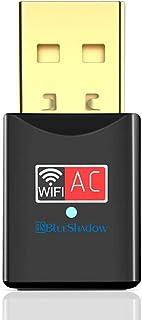 محول الواي فاي BlueshNEONUSB - مزدوج النطاق 2.4G/5G Mini Wifi AC، مع هوائي عالي الكسب لسطح المكتب والكمبيوتر المحمول دعم و...