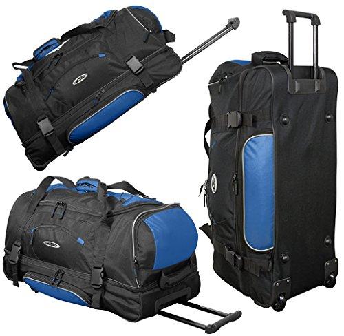 foolonli Große Reisetasche 106L XXL mit Rollen Trolley Jumbo Tasche Reise Koffer Sporttasche Schwarz Blau