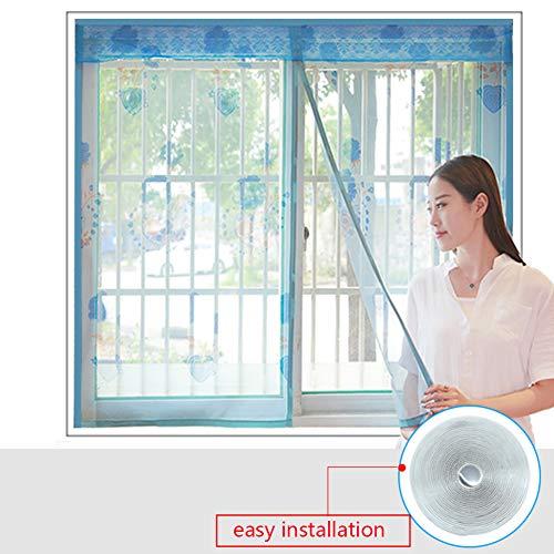 XGXQBS Magnetisch fly scherm voor ramen, mesh-gordijn muggeninsecten raamscherm, vliegen beeldschermnet met zelfklevende band 120x180cm(47x71inch) blauw