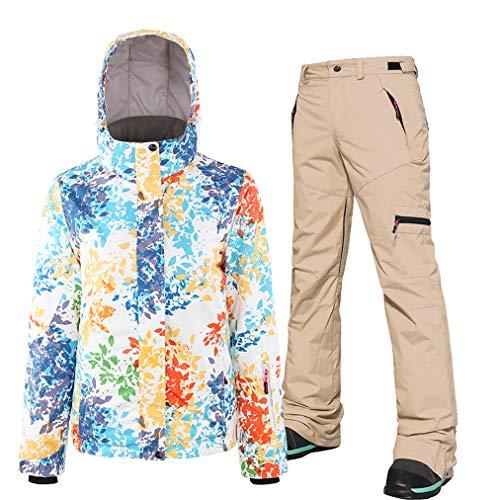 Skijacken und Hosen Set für Damen, hohe winddichte wasserdichte Schneeanzug, Ski-Outfit, Snowboard-Skianzug Hose, geeignet für Snowboarden, Bergsteigen Gr. XS, khaki