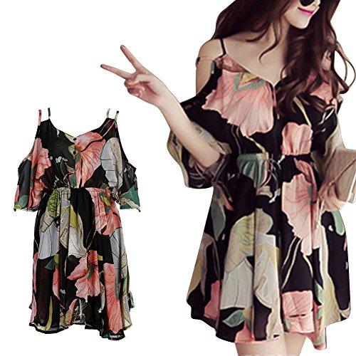 Diamondo Spaghetti Strap Chiffon Dresses Women Ruffle Off Shoulder Floral Elastic Waist (Asian S)