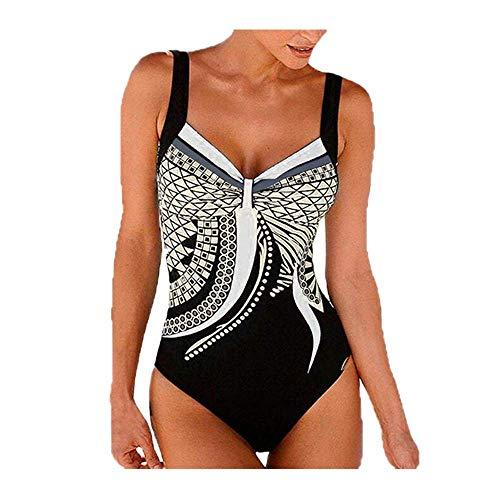 Meclelin Damen Badeanzug Bauchweg Puch Up One Piece Figurformend Schwimmanzug Bademode Strandmode