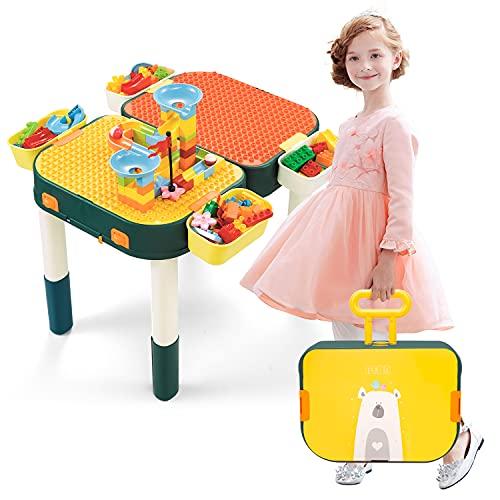 NextX Mesa para niños 6 en 1 con bloques de construcción 60 piezas Multi Actividad Mesa con almacenamiento para niños pequeños