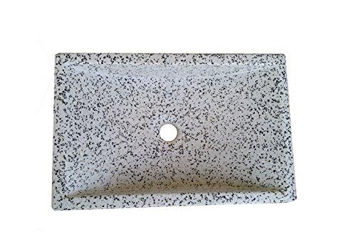 Terrazos Cantalejo Lavabo de Piedra Blanco y Negro – sobre encimera