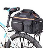 Bolsa de Asiento Trasero de Bicicleta de 15L Canasta de Maletero de Estuche de Almacenamiento Bolso de Hombro Bicicleta Portador de Doble Lado Bolsa Paquete de Cola Estante para Montar Viaje