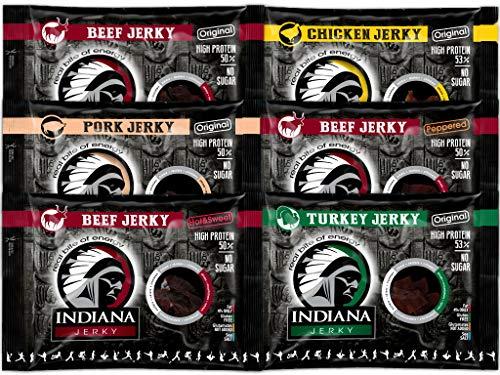 Indiana Jerky 100g - Beef (Original, Peppered, Hot&Sweet), Turkey, Chicken, Pork - Hight Protein, No Sugar (Mix: alle 6 Sorten 6x100g)