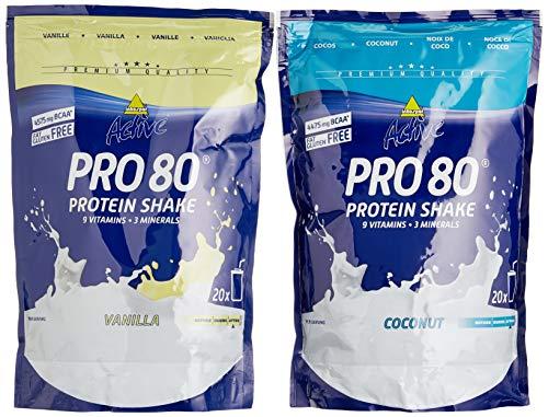 Inkospor Active Proteinshake Pro 80 Beutel 2er Mix Pack (2 x 500 g) Vanille/Cocos, 1er Pack (1 x 1 kg)