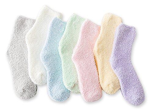 Women's Cozy Fluffy Socks Fuzzy Socks Plush Socks 5,7,8 Pairs (7 Pairs Solid Color,4.5-8.5(Women Shoe))