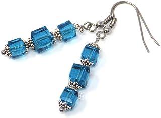 Orecchini blu petrolio vetro e acciaio inossidabile