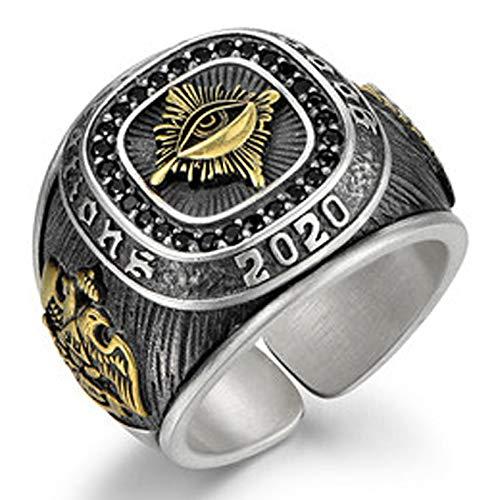 RXSHOUSH Anillo de plata S925 para hombre, anillo de apertura de ojo de Dios, regalo de la suerte para hijo o novio, anillo