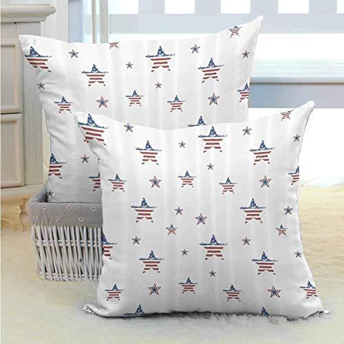 4 de julio Funda de almohada personalizada Estrellas dispersas con motivos de la bandera estadounidense Tema del Día de la Independencia Adecuado para la salud del cabello y la piel Rubí Azul marino B