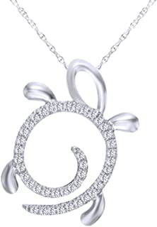 1/10 CT Round Cut White Natural Diamond Turtle Pendant Necklace in 10K Solid Gold