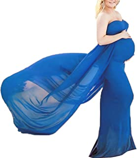 Woot direct Maternity Photography Dress Off Shoulder Chiffon Pregnancy Long Gown Maxi Dress for Baby Shower