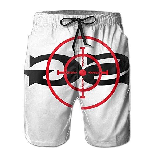 tyui7 Hombres Sniper Gang Gang Target Pantalones Cortos de Playa Troncos de baño Shorts Cargo, Talla M