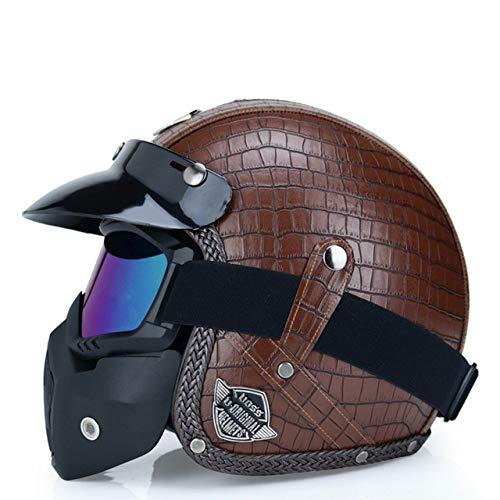 MYSdd Neuer Helm Open Face 3/4 Helm Personalisierte Herren Damen Vintage Retro Motorradhelm Gefüttert Weiche Komfortable Deodorant - b4 XS