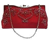 Access-All-Areas Sac à main vintage avec bandoulière en métal satiné et perles de verre véritable Rouge