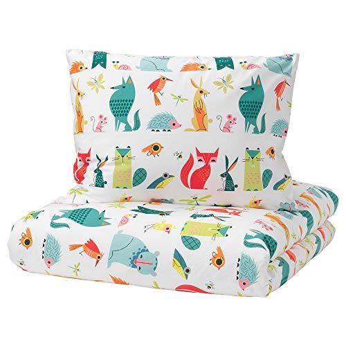 IKEA Lattjo Bettbezug und Kissenbezug (S), Tiermotiv, mehrfarbig