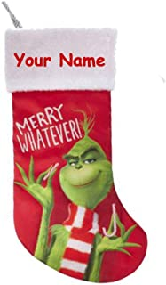 Kurt Adler Personalized Officially Licensed Dr. Seuss How The Grinch Stole Christmas Merry Whatever Hanging Christmas Stocking - 18 Inches