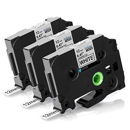 Nastri Unistar Compatibile In sostituzione di Brother TZe-231 12mm Tape Nero su Bianco Compatibile per Brother PTouch PT-1000 PT-1010 PT-H100R Stampanti per Etichette, Nero su Bianco 12mm x 8m 3-Pack