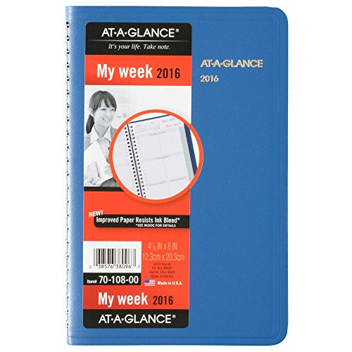 AT-A-GLANCE Weekly Appointment Book / Planner 2016, 4-7/8 x 8 Inches, Assorted Colors - Color May Vary (70-108-00)