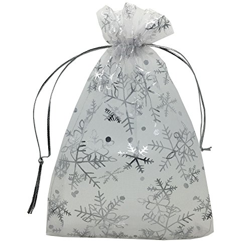 YIJUE 100pcs 5x7 Inches Drawstrings Organza Gift Candy Bags Wedding Favors Bags (Snowflake)
