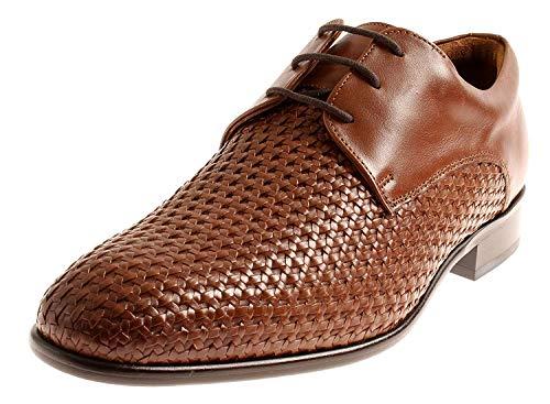 Manz Herren 141020 Schuhe Schnürschuhe Leder geflochten Business Terni AGO Cognac EU 42.5 UK 8.5
