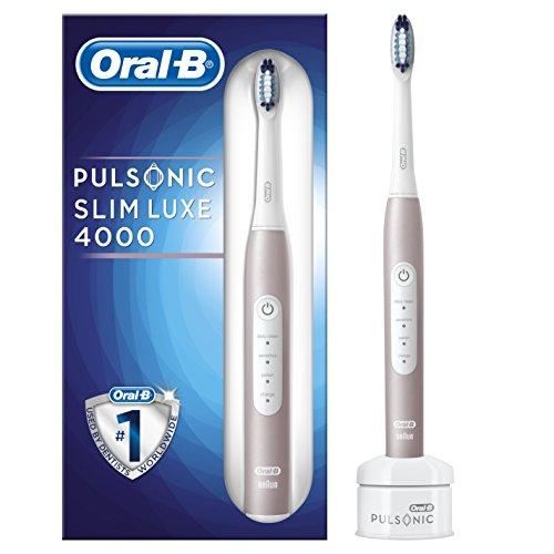 Oral-B Pulsonic Slim Luxe 4000 - Spazzolino elettrico sonico per gengive più sane in 4 settimane, con timer e testina di supporto, colore: oro rosa