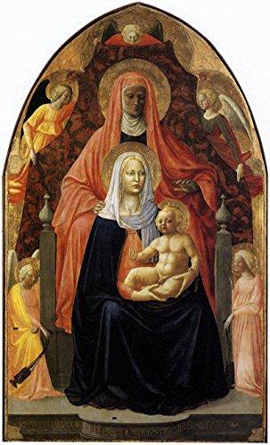 "The Madonna and Child with Saint Anne by Masaccio - 16"" x 27"" Premium Canvas Print"