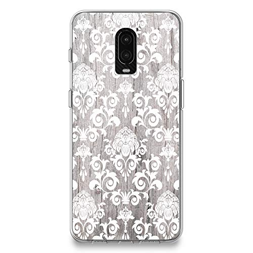 CasesByLorraine OnePlus 6T Case, Wood Print Damask Floral Pattern Case Flexible TPU Soft Gel Protective Cover for OnePlus 6T (G11)