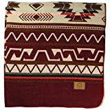 Inca Fuzzy Ecuadorian Blanket - Aztec/Southwest Artisanal Style - Use As Fall Throw Blanket, Camp Blanket, or Fluffy Cover for Indoors and Outdoors (Dark Red, Medium)