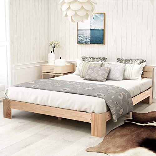 Zyllzy Lit double en bois massif certifié FSC avec tête de lit et sommier à lattes, 200 x 140 cm, Naturel