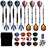 Steel Dartpfeile, 12 Stück Dartpfeile Set, 24 Gramm Profi Steeldarts mit Metallspitze, Darts Steel, Aluminium Dart Shaft,36 Dart Flights,24 Anti-Lose...