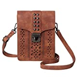MINICAT Women RFID Blocking Small Crossbody Bags Cell Phone Purse Wallet With Credit Card Slots(Brown-Thicker)