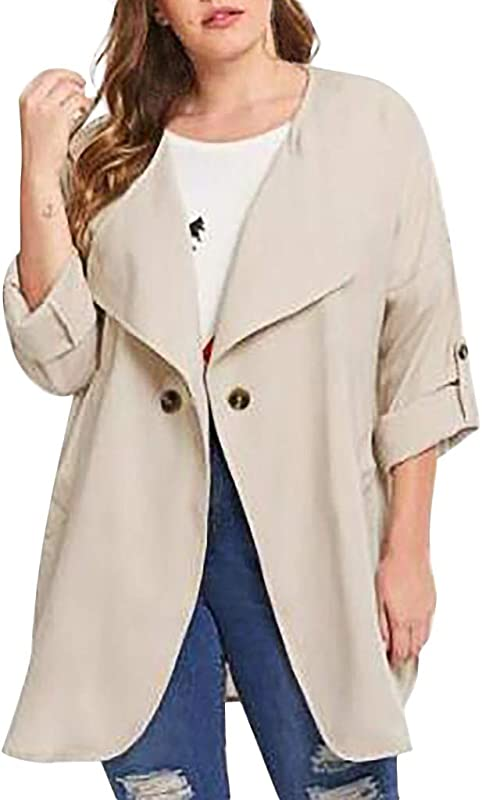Ultramall Fashion Women Casual Plus Size Pure Color Color Loose Long Sleeve Button Tops Coat