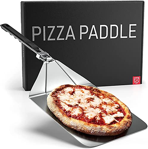 TELANKS Pala antiadherente para pizza de acero inoxidable, piedra para pizza de gas y pala para pizza con mango plegable para horno, barbacoa, piedra de horno de piedra, rectangular