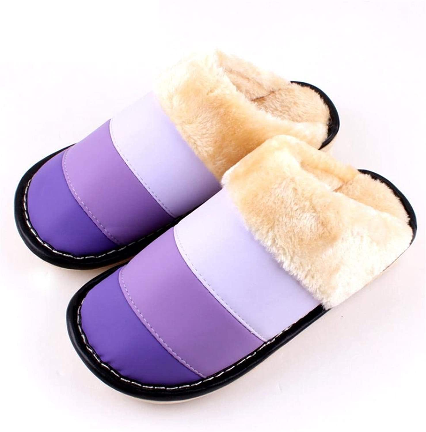 So8ooa Lady Slippers Ladies Casual Wool Slippers Indoors to Keep Warm in Autumn and Winter Slippers for Women Pink Purple Red