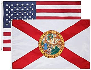 Florida & American Flag Combo Pack – (Printed FL Flag with Double Layered 200D Nylon - .93 LB) (Embroidered US Flag with Single Layered 210D Nylon - .55 LB) Flags Have Designs on Front and Back.