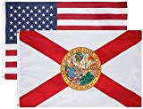 State & American Flag Combo Pack–Superior Quality (State Flag is Double Layered) (US Flag is Single Layered with Embroidered Stars and Sewn Stripes)-Both Flags Have Designs (Florida + USA)