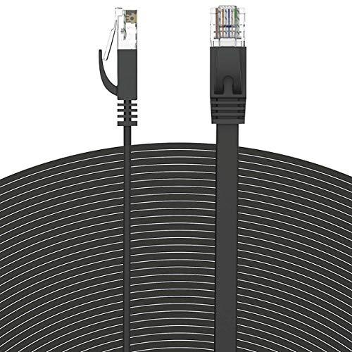 Praktisch langlebig 50FT Cat6 Flat Slim Ethernet Patch RJ45 Netzwerk Internet LAN Kabel Kabel Lot High Performance - Schwarz