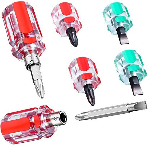 6 Mini Destornilladores Rechonchos de Máquina de Coser Incluye Destornillador de Cabeza Plana y de Cabeza Cruzada Destornillador de Mango Intercambiable 2 en 1 para Reparación DIY, 3 Estilos