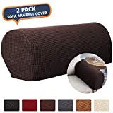 CAVEEN Armrest Cover Stretch Fabric Armrest Covers Anti-Slip Furniture Protector Armchair Slipcovers for Recliner Sofa Spandex Jacquard Couch Armrest Protector Set of 2 Dark Coffee Plaid Pattern
