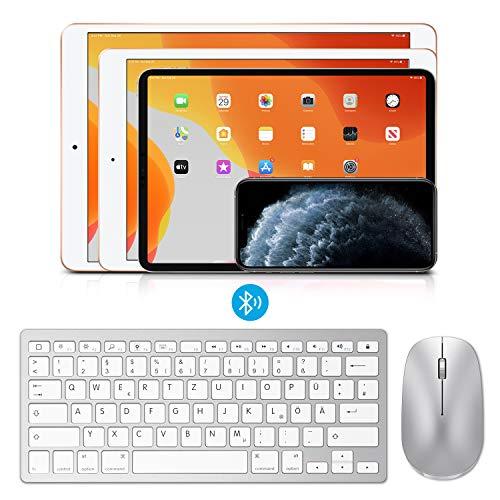 OMOTON deutsche Bluetooth Tastatur Maus Set für iPad 10.2,iPad 2018/2017,iPad 8/7/6/5/4,iPad Air 4/3/2,iPad Pro 10.5,iPad Mini 5/4, iPad Pro 12.9 und iPhone,QWERTZ Layout,Silber