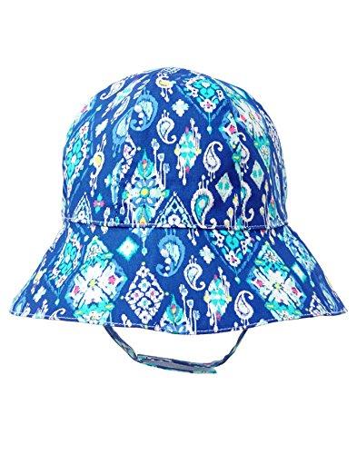 Gymboree Girls' Toddler Reversible Sun Hat, True Blue Ikat, 2T-3T