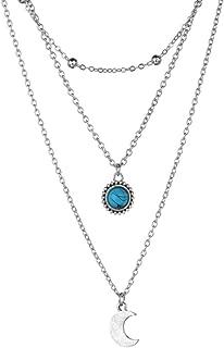 Collar Lilloubella Gargantilla de varias hileras Piedra preciosa Semipreciosa Turquesa 3 Cadena Colgante Luna Joyería Regalo de lujo para mujer
